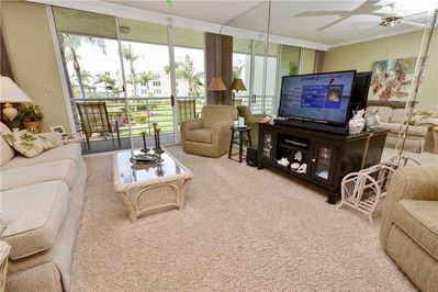 Living area with large HD Flat screen TV