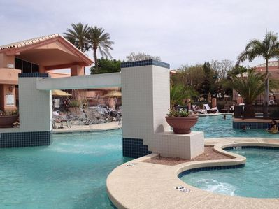 Comfortable temperature-controlled pool, refreshing waterfall, whirlpool spa