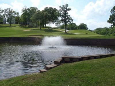 beautiful pond with fountain just  for your viewing pleasure!!