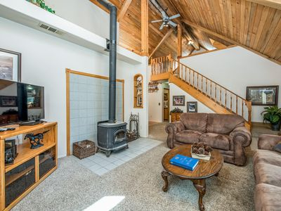 Photo for NEW LISTING!Rustic cabin conveniently located right by town with space for all!