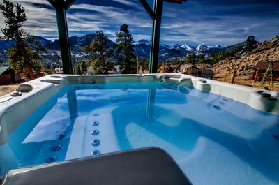 Enjoy the prhot tub and views of Longs Peak(14,259') after a day of hiking in RM