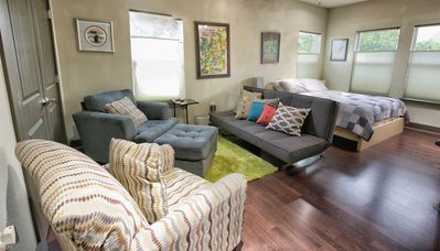 BR 2: View of downtown, queen bed, 5 person seating area incl futon (sleeps 2)