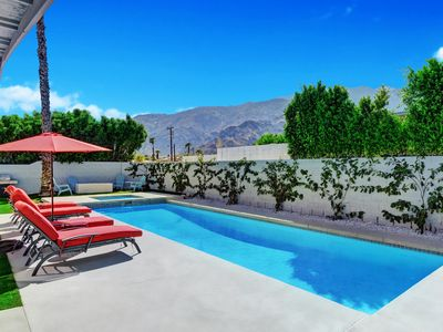 Photo for Mid Century Modern Resort Pool, few minutes from downtown. Great mountain views
