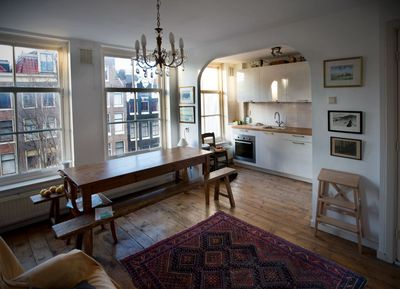 Kitchen and dining area overlooking canal