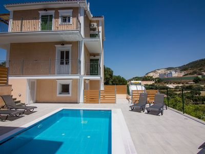 Photo for Private Modern pool Villa close to the airport of  kefalonia