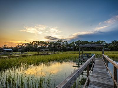Photo for Marsh Front Cottage with Dock on Tidal Creek, Peaceful and Serene backyard family and pet friendly