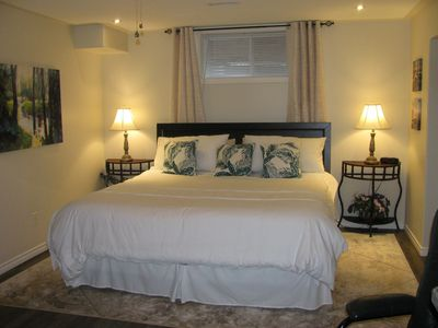 King Bed with fine linens.