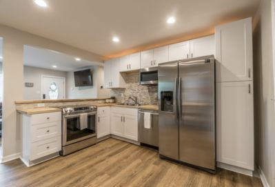 Butchers block counter tops and stainless steel appliances!