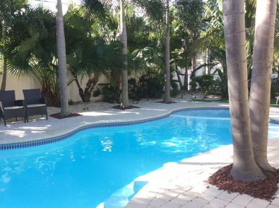 Beautiful pool with Jaccuzzi and 4 bar stools, surrounded by mature palm trees