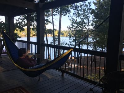 Photo for Lodge on the Lake-Perfect for families-Huge covered deck overlooks the lake