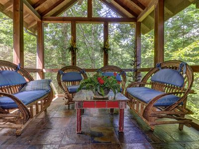 Photo for Gorgeous secluded cabin w/private hot tub, shared pools, game room