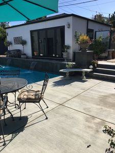 Enjoy our outdoor area and pool. Don't forget your bathing suit!