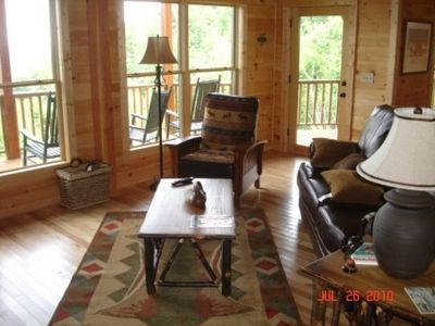 Living Room with a mountain view near Wilkesboro NC