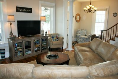 Enjoy the river right from the brand new leather sectional. Smart TV also!