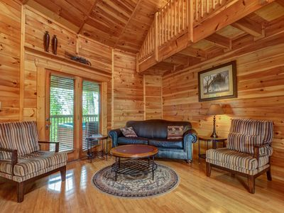 Photo for NEW LISTING! Unique mountain view cabin w/ private hot tub, deck & air hockey