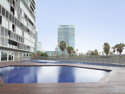 Photo for Beachfront Swimming Pool and Terrace apartment in Poblenou with WiFi, air conditioning, private par…