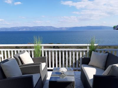 Photo for APARTMENT WITH LARGE TERRACE AND MAGNIFICANT SEA VIEW, 300 m FROM THE BEACH +PS4