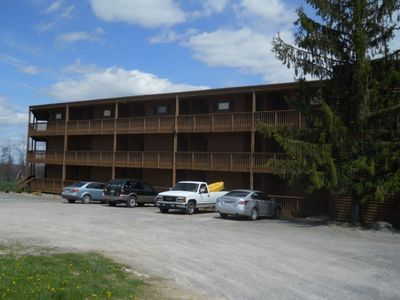view of building from parking lot
