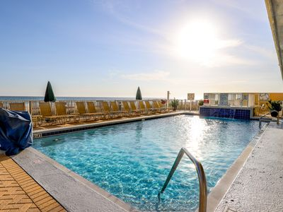 Photo for Beach views high rise condo with shared pool and hot tub!