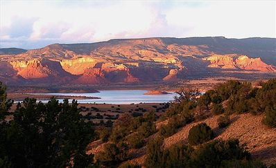 Our View north: towards Abiquiu Lake and red cliffs surrounding Ghost Ranch
