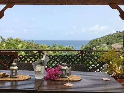Photo for Villa with a view of the ocean only 4 min walk from the beach!