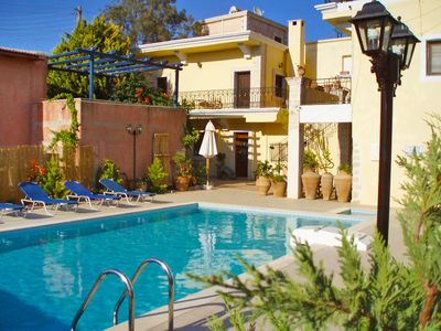 Photo for This 7-bedroom villa for up to 10 guests is located in Kalamaki (Crete) and has a private swimming p
