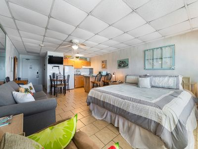 Photo for New Listing! Lovely updated beachfront studio across from Gulf World! Pool, WiFi