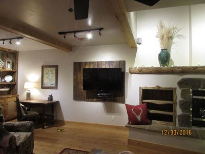 Mounted TV with barnwood