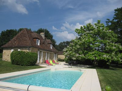 Photo for Relax and enjoy old stone cottage with heated swimming pool