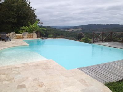 Photo for Magnificent 200m2 gite for 8, infinity pool and valley view