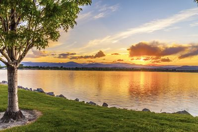 Breathtaking Views of Lake Loveland and the Rocky Mountains.