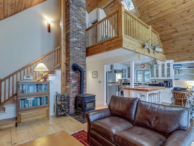 Photo for NEW LISTING! Serene luxury cabin with  wood stove & deck!