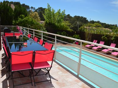 Photo for VILLA 17 PERS WITH SWIMMING POOL / GARDEN / CLEAR VIEW ON GARRIGUE