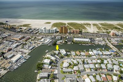 Aerial view on the water with private dock and just 9 houses to the beach