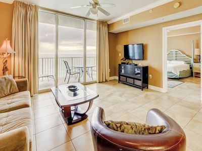 Photo for Picturesque gulf-front condo ! Two lagoon pools + movie center on-site! Free beach service!