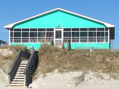 Photo for Pet Friendly 4 Br / 2 Ba Oceanfront In Topsail Beach With Screened Porch