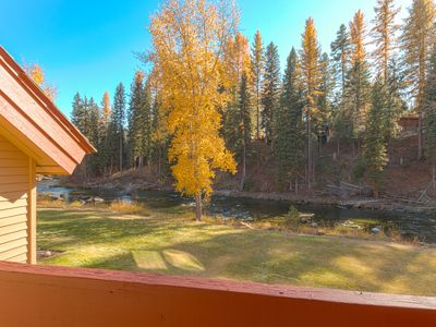 Photo for Clean, comfortable riverfront condo with seasonal pool in McCall