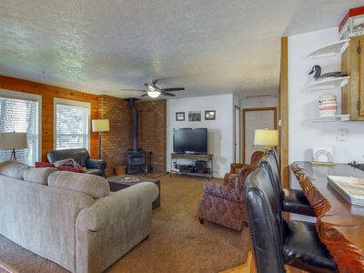 Photo for Dog-friendly cabin w/ gazebo, shared pool & more - quiet forested location