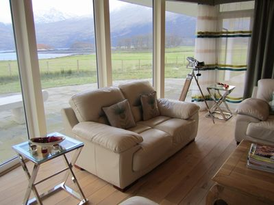 The lounge with views over the loch