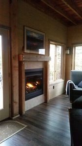 gas fireplace / timber framed hearth