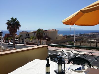 Dreamful view from the terrace to the sea and the neighbour-island La Gomera