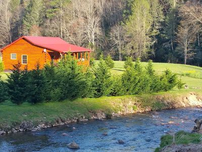 Photo for Luxury Riverfront Honeymoon Log Cabin! Privacy! Camp Fires! More!