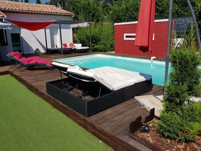 Photo for Modern villa of full foot with private heated swimming pool, without opposite