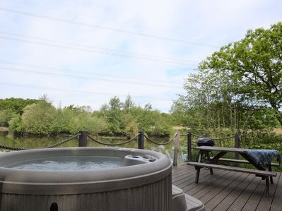 Fantastic views over the lake from the hot tub
