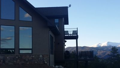 Front of cabin and view of Buffalo Peaks.