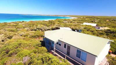 Aerial view of house showing proximity to beach (~100 metres)