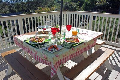 MH--So wonderful to have a meal on the backyard upper Sundeck picnic table.