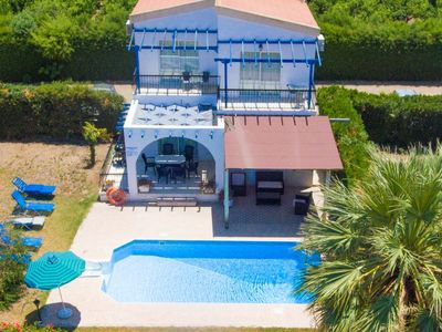 Photo for Argaka Sun Villa Thio: Large Private Pool, Walk to Beach, Sea Views, A/C, WiFi