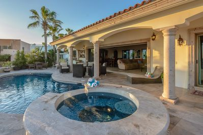 Soak up the Cabo sun by this gorgeous private pool, complete with attached Jacuzzi and waterfall!