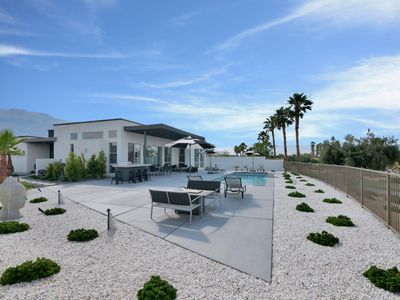 Photo for Modern Desert home on Public Golf Course with Swimming Pool, Fire Pit and sweeping Mountain Views